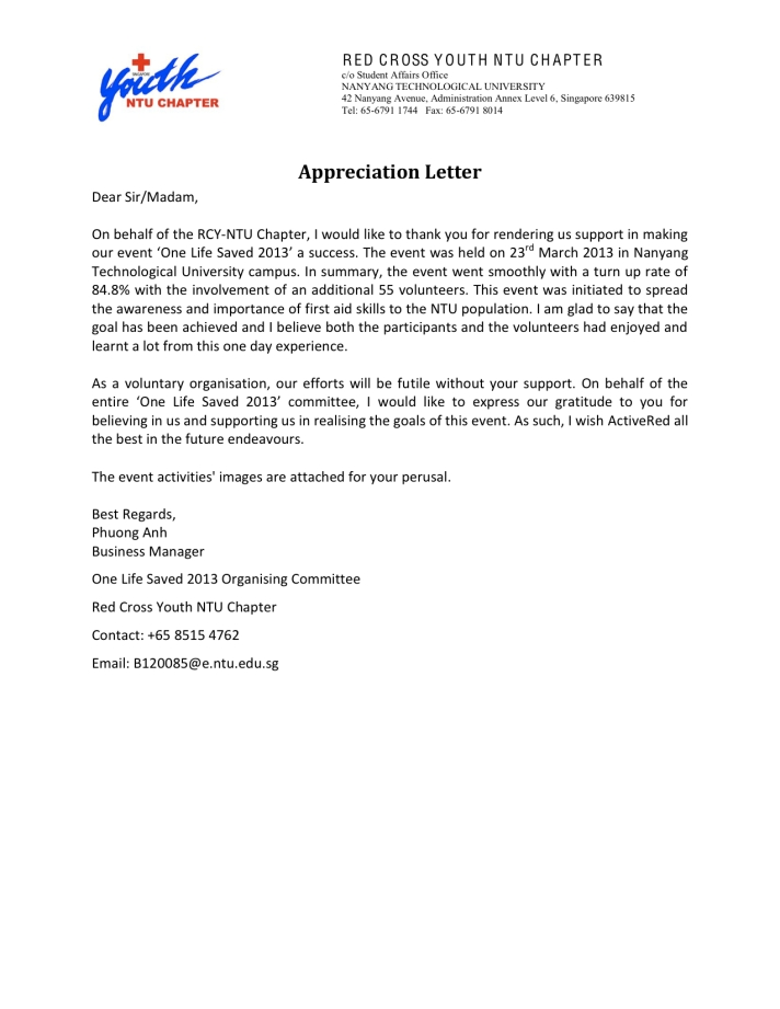 NTU Redcross Youth Chapter - Appreciation letter to ActiveRed