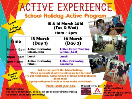 This March School Holidays Awaits You With – ACTIVE ...