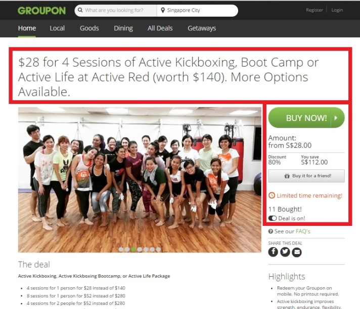 Active Kickboxing Fitness on Groupon 27th April 2016