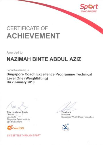 Certificate of Achievement - Nazimah (Active Trainer)