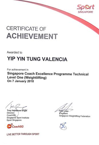 Certificate of Achievement - Valencia Yip (Senior Active Trainer)